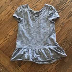 Anthropologie - short sleeved gray top w/ ruffle